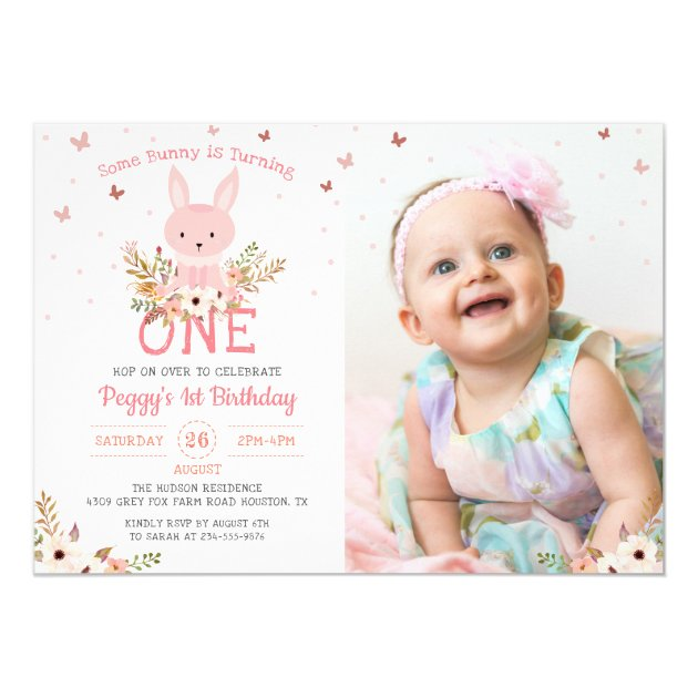 Some Bunny Girl 1st Birthday Butterfly Photo Card (back side)