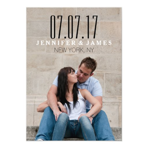 """MODERN BLACK AND WHITE SAVE THE DATE CARD 5"""" X 7"""" INVITATION CARD"""