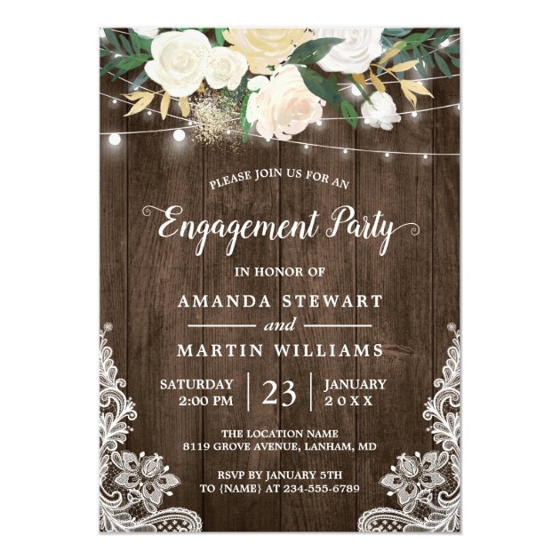 Rustic Charm Floral String Lights Engagement Party Card