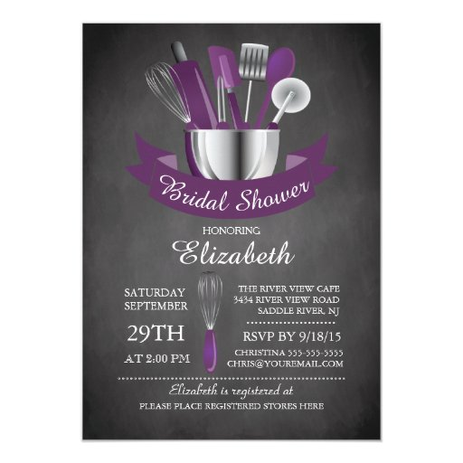 Modern Chalkboard Stock The Kitchen Bridal Shower 5x7 Paper Invitation Card