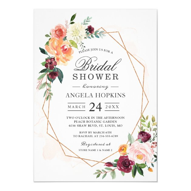 Geometric Blush Watercolor Floral Bridal Shower Card (front side)
