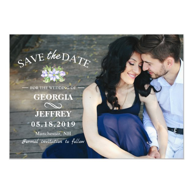 Elegant Purple Garden Wedding Save The Date Photo Card (back side)