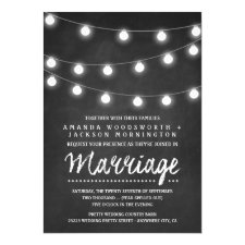 Chalkboard and String Lights Wedding Invitations