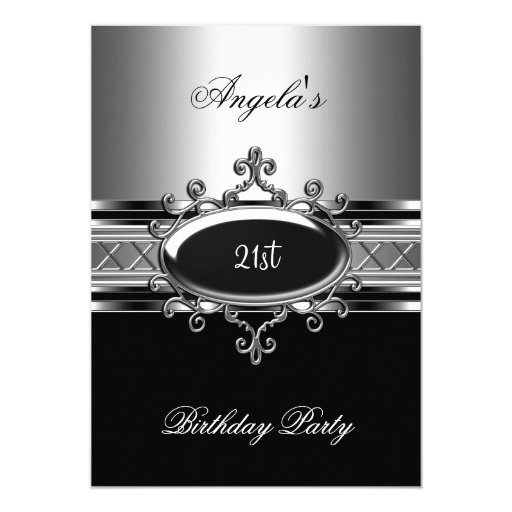 Black Silver Jewel 21st Elegant Birthday Party 5x7 Paper Invitation Card (front side)