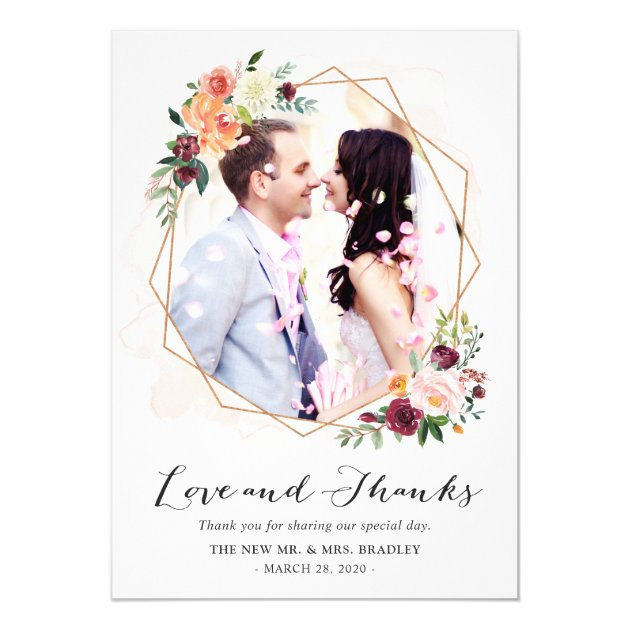 Modern Watercolor Floral Wedding Photo Thank You Card