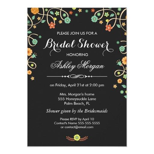 Modern Stylish Black Swirl Floral Bridal Shower 5x7 Paper Invitation Card