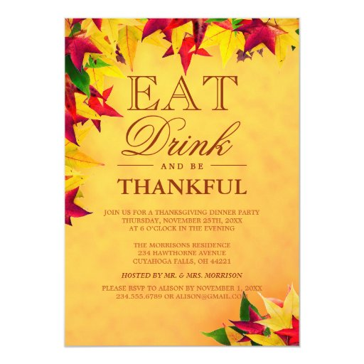 Gold Red Autumn Leaves Thanksgiving Dinner Party 5x7 Paper Invitation Card
