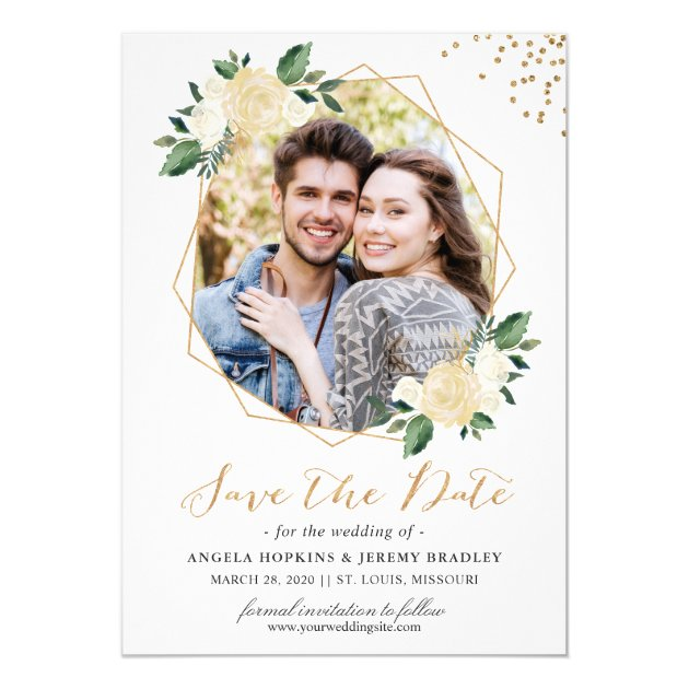 Modern Gold Ivory Green Floral Photo Save the Date Card (back side)