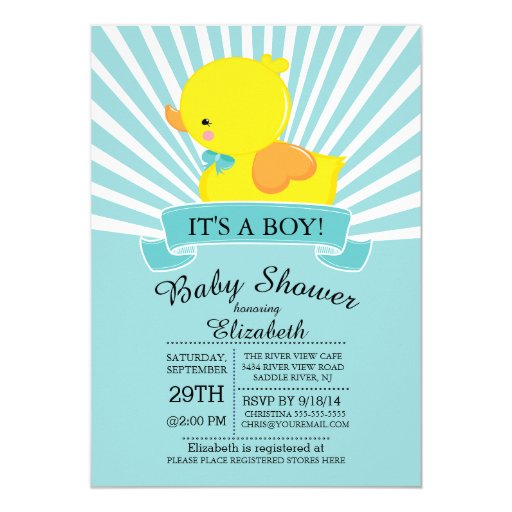 "Modern Rubber Duck Boys Baby Shower Invitation 5"" X 7"" Invitation Card (front side)"