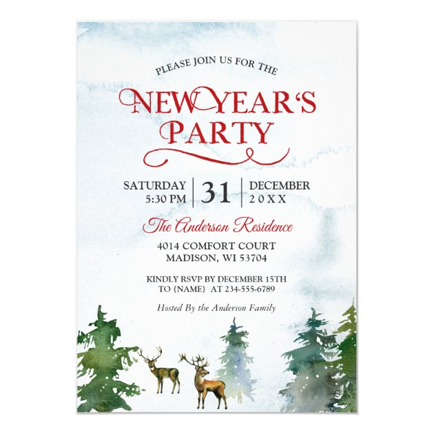 Watercolor Woodland Deer Forest New Year Party Card