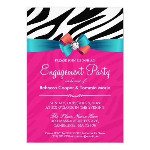 Engagement Party - Hot Pink Zebra Print Ribbon Bow 5x7 Paper Invitation Card