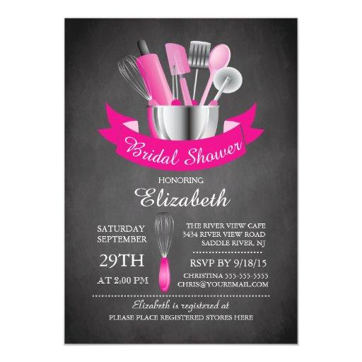 Modern Chalkboard Stock The Kitchen Bridal Shower 5x7 Paper Invitation Card