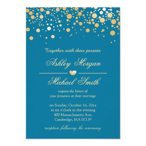 Royal Blue with Gold Confetti Polka Dots Wedding 5x7 Paper Invitation Card