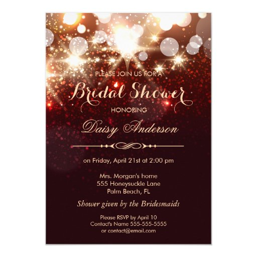 Bridal Shower - Glamour Gold Glitter Sparkles 5x7 Paper Invitation Card