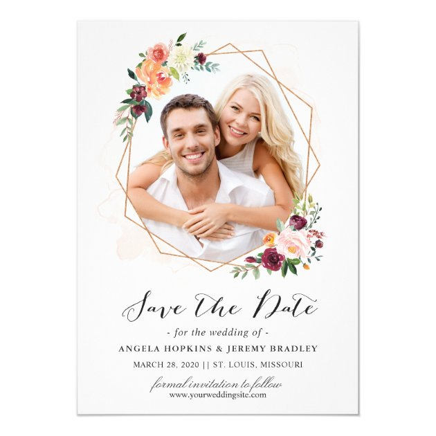 Modern Geometric Bloom Floral Photo Save the Date Card (back side)