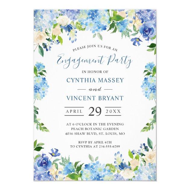 Pale Blue Hydrangeas Floral Engagement Party Card