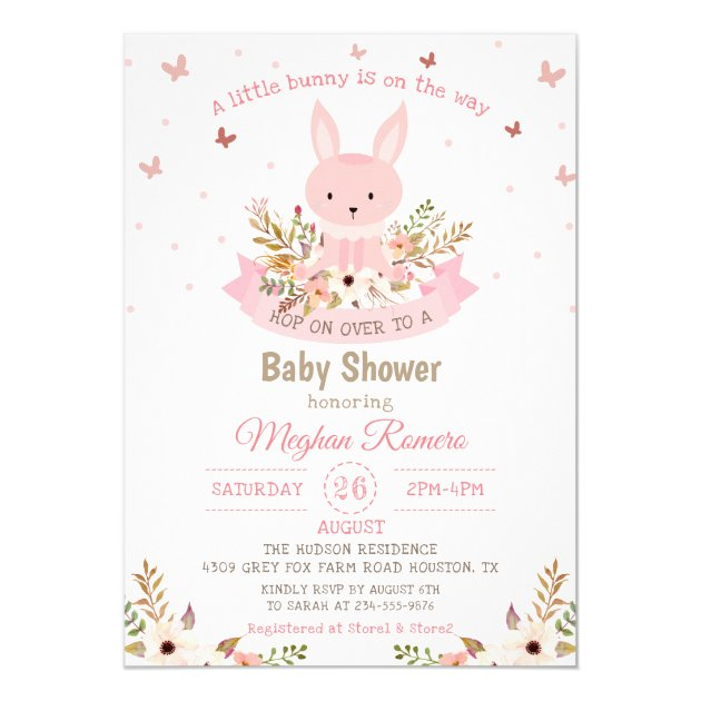 Adorable Pink Bunny with Flowers Baby Shower Card (back side)