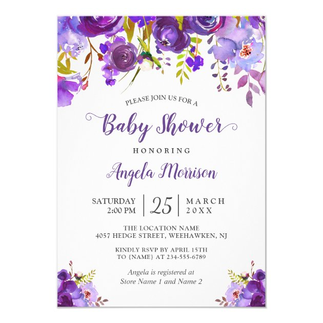 2018 Trendy Ultra Violet Purple Floral Baby Shower Card