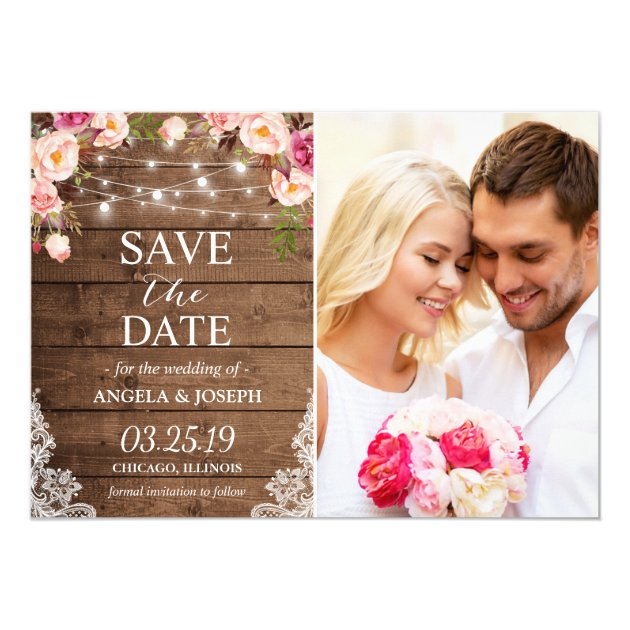 Rustic Floral String Lights Photo Save the Date Card