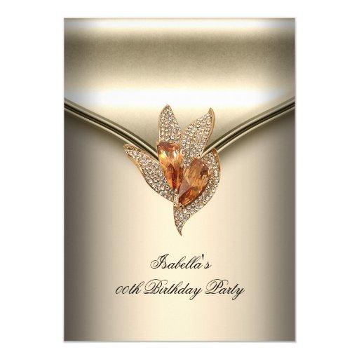 Elegant Caramel Beige Gold Birthday Party 5x7 Paper Invitation Card