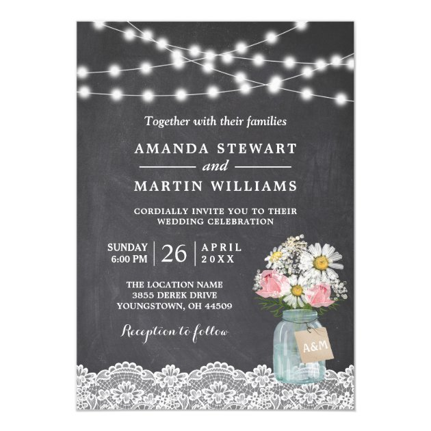 Twinkle Lights Chalkboard Lace Floral Wedding Card