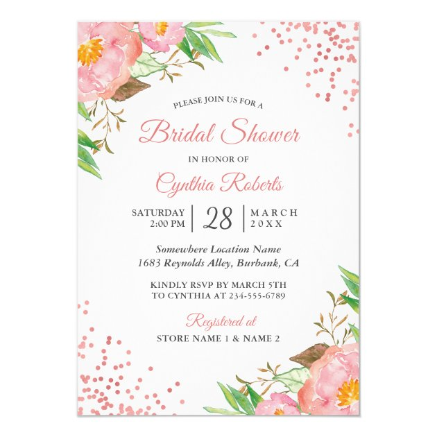 Romantic Blush Pink Floral Confetti Bridal Shower Card