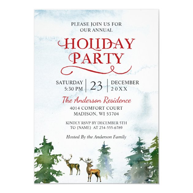 Watercolor Woodland Deer Snow Forest Holiday Party Card