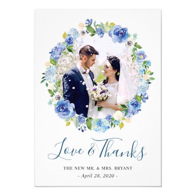 Blue Hydrangeas Floral Wreath Photo Thank You Card