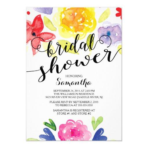 "Modern Watercolor Flowers Bridal Shower Invitation 5"" X 7"" Invitation Card"