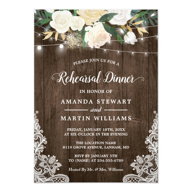 Rustic Country Style Ivory Floral Rehearsal Dinner Card