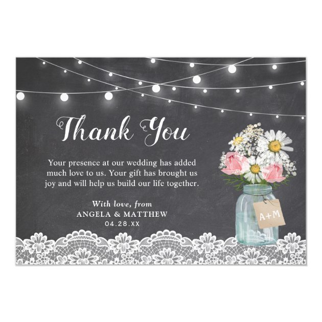 Mason Jar Floral Chalkboard String Light Thank You Card