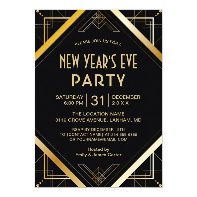 Gold Art Deco Gatsby New Years Eve Party Invite