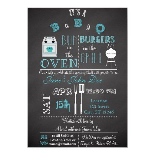 Chalkboard BabyQ blue 5x7 Paper Invitation Card