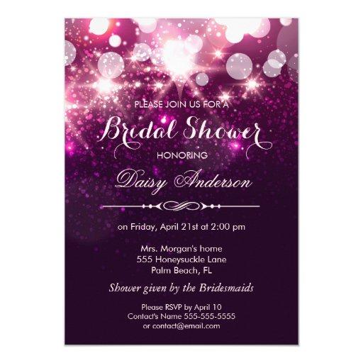 Bridal Shower - Fashionable Pink Glitter Sparkles 5x7 Paper Invitation Card