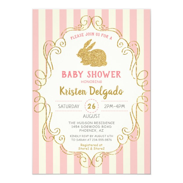 Sweet Bunny Pink Gold Glitter  Baby Shower Card (back side)