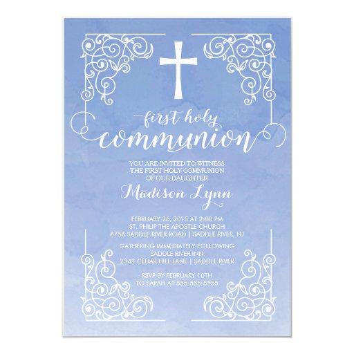 "Modern Watercolor First Holy Communion Invitation 5"" X 7"" Invitation Card"