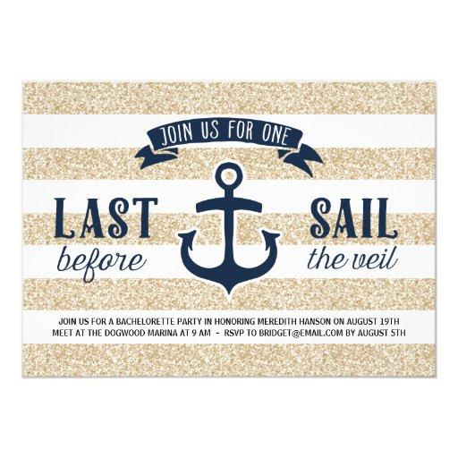Last Sail | Nautical Bachelorette Party 5x7 Paper Invitation Card