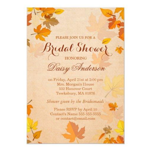 Vintage Rustic Autumn Leaves Wedding Bridal Shower 5x7 Paper Invitation Card