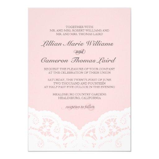 "Elegant Blush Lace Wedding Invitation 5"" X 7"" Invitation Card"