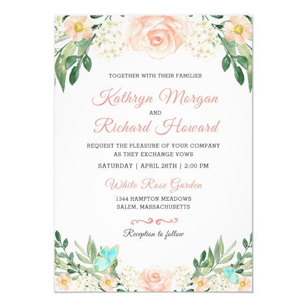 Spring Blush Peach Rose Garden Watercolor Wedding Card (back side)