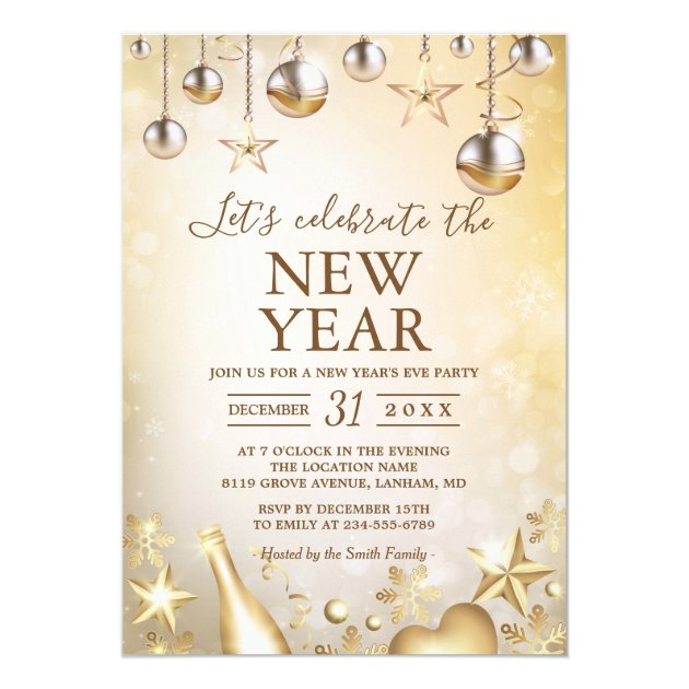 Golden Ornaments Celebrate the New Year's Party Card