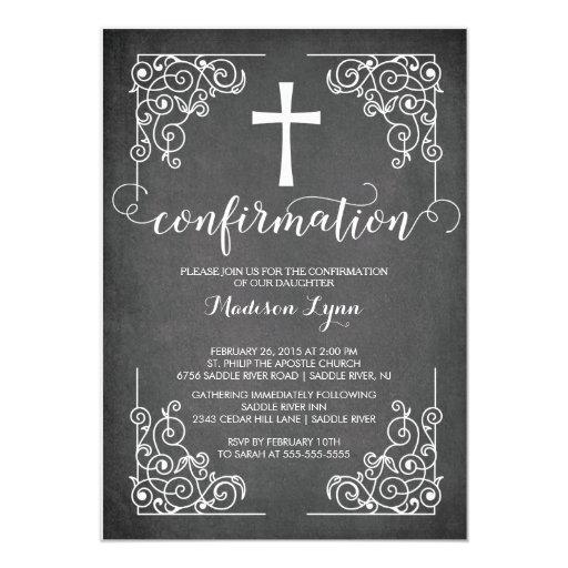 "Modern Black Frame Cross Confirmation Invitation 5"" X 7"" Invitation Card"