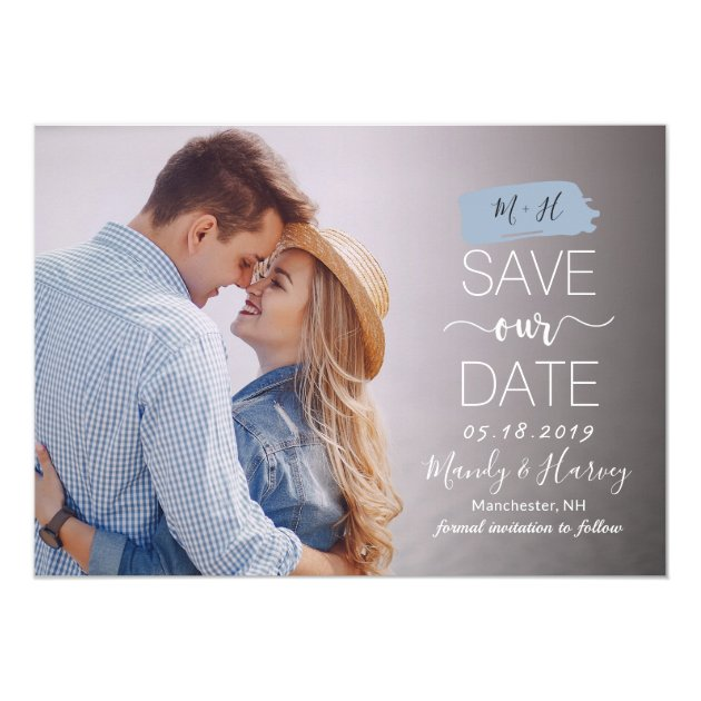 Modern Blue Monogram Wedding Save The Date Photo Card (back side)