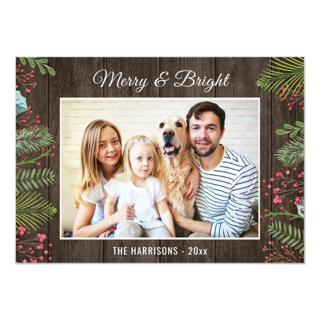 Rustic Country Woodgrain Holiday Christmas Photo Card