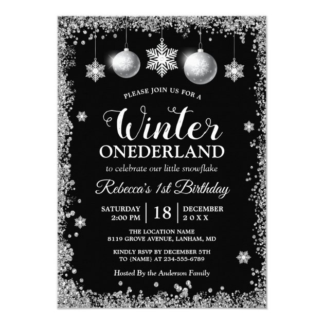 Silver Glitters Xmas ONEderland Birthday Party Card