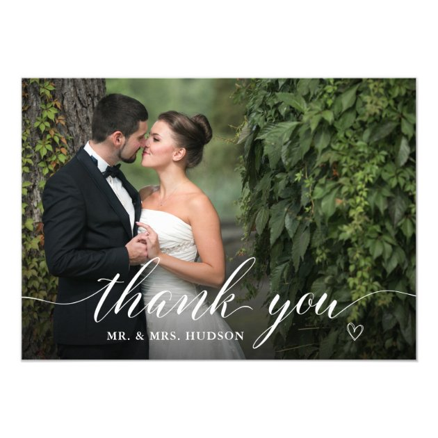 Stylish White Script Wedding Photo Thank You Card (back side)