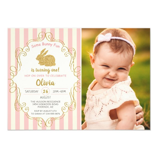 Some Bunny Pink & Gold Glitter Birthday Photo Card (back side)