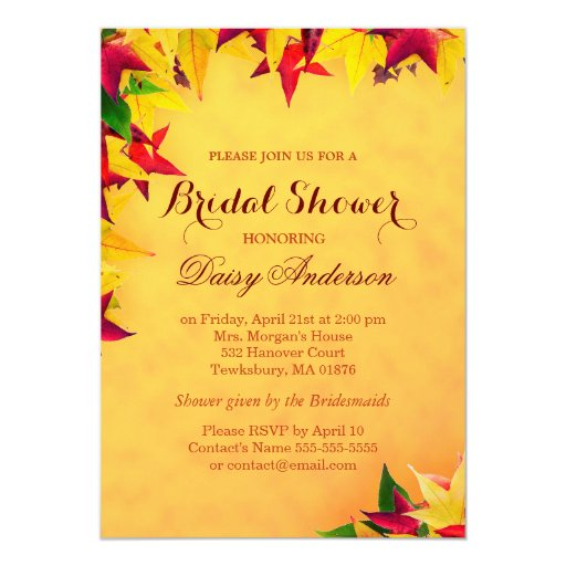 Autumn Maple Gold Red Leaves Bridal Shower Wedding 5x7 Paper Invitation Card