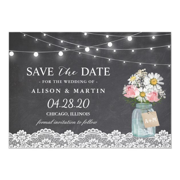Chalkboard String Lights Lace Floral Save the Date Card