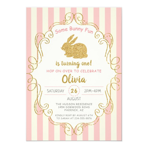 Pink Gold Glitter Some Bunny Birthday Invitation (back side)